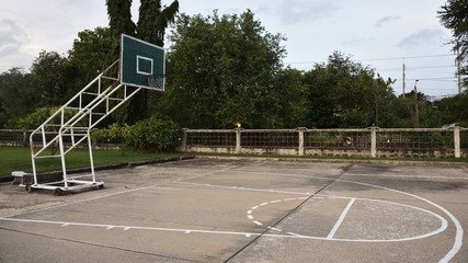 Old outdoor public basketball court