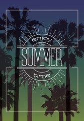 Exotic Background with Palms and Summer Label for T-shirt, Card, Poster.
