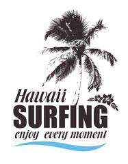 Tropical Print with Palm and Hibiscus for T-shirt. Hawaiian Banner for Surfing. Summer Travel Background.