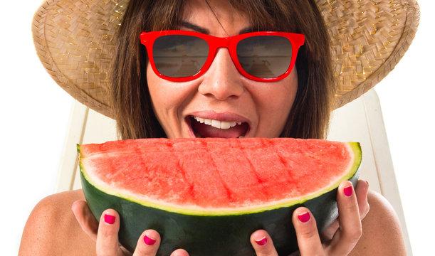 Woman eating a watermelon