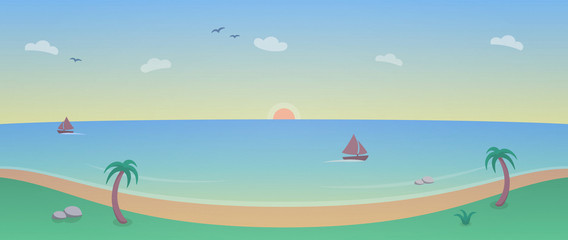 Illustration with Beach and Ocean Sunset - 