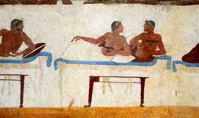 Detail of an ancient greek fresco found in a tomb in Paestum, Italy. Dating from about 470 B.C.