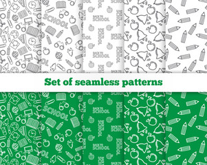 Set of seamless patterns. Back to school. Vector
