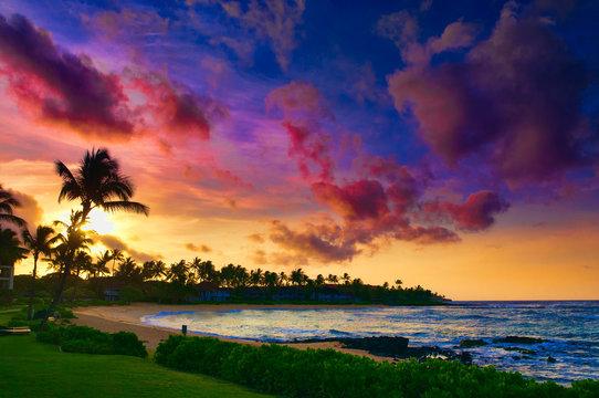 Spectacular sunset over a Pacific Ocean beach on Kauai, Hawaii, USA