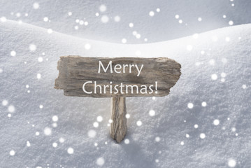 Wooden Sign With Snow And Snowflakes Merry Christmas
