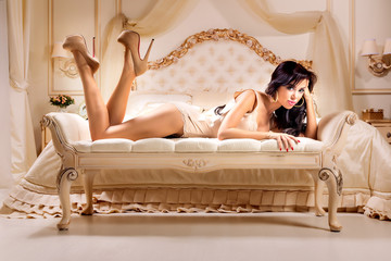 Wall Mural - Beautiful and sexy woman  in bed