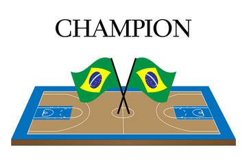 Basketball Champion Court with Brazilian Flag