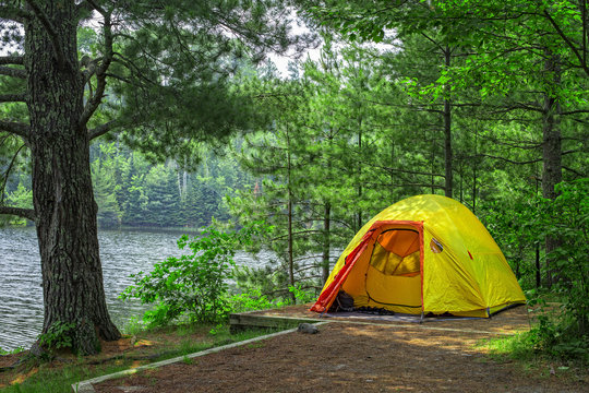 An image of a tent at Lost Lake campsite, Voyageurs National Park, Minnesota, USA