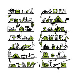 Shelves with fishing icons, sketch for your design