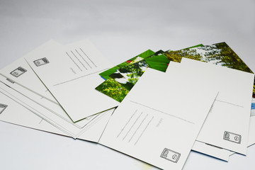 post cards on white bord