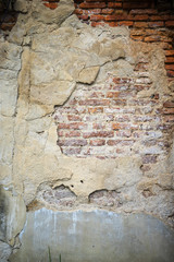 Old weathered brick wall fragment, use as background