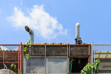 Exhaust hood on roof of resturant.