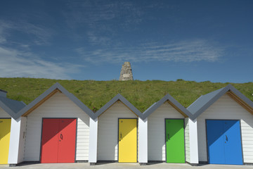 Beach huts on seafront, Swanage, Dorset