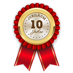 Gold 10 Jahre Jubiläum Rosette mit roter Sherpe