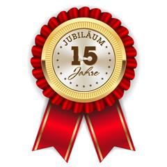 Gold 15 Jahre Jubiläum Rosette mit roter Sherpe