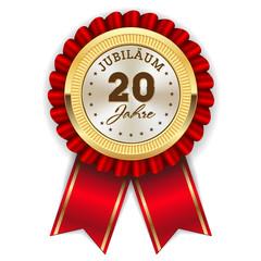 Gold 20 Jahre Jubiläum Rosette mit roter Sherpe