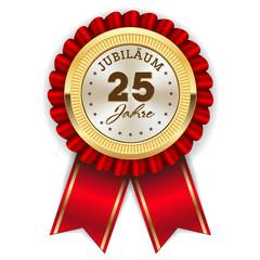 Gold 25 Jahre Jubiläum Rosette mit roter Sherpe