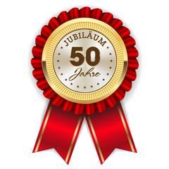 Gold 50 Jahre Jubiläum Rosette mit roter Sherpe