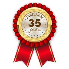 Gold 35 Jahre Jubiläum Rosette mit roter Sherpe