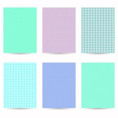 Set of six flyers pastel colors.