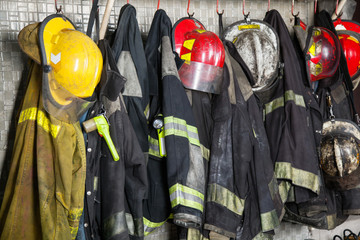 Firefighter's Gear Hanging At Fire Station