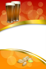 Background abstract red gold drink glass dark beer pistachios vertical frame illustration vector