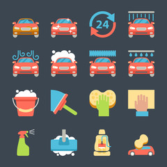 Car wash auto cleaner washer shower service icons