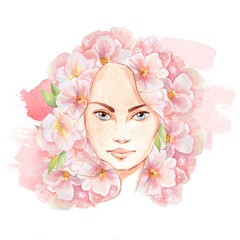 Face of spring. Beautiful woman face and flowers. Hand-drawn watercolor illustration