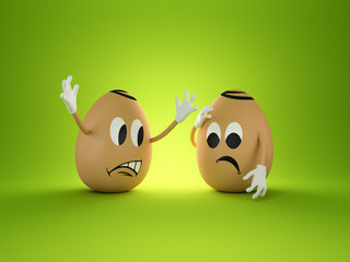3d funny cartoon angry eggs
