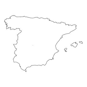High detailed Outline of the country of  Spain