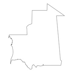 High detailed Outline of the country of  Mauritania