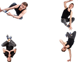 Multiple image of young man break dancing