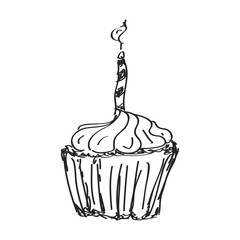 Simple doodle of a cake