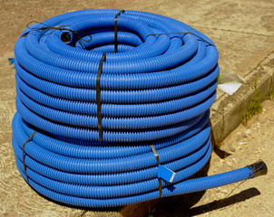 roll of corrugated conduit for microtrench in urban areas.