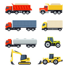Trucks and tractors set. Flat style vector icons