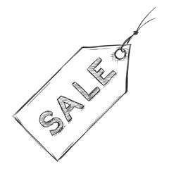 Vector Single Sketch Sale Tag