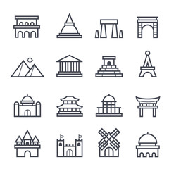 Landmark Icon Bold Stroke on White Background. Vector Illustration