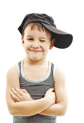 Fashionable little boy.Hip-Hop Style. Funny Child in Cap