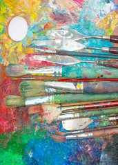 Palette and brushes close-up