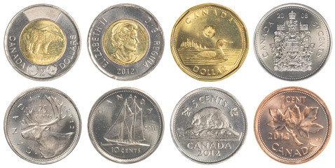 circulating Canadian Dollar coins