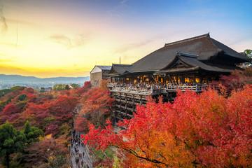 Beautiful sunset scene in autumn season at Kiyomizu dera temple