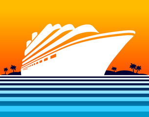 Cruise ship at sunset. Vector illustration.