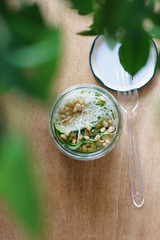 Zucchini carpaccio with Parmesan cheese and pine nuts in jar on the wooden table under tree