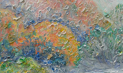 oil painting on canvas, detail, fog, abstract, stroke, expressio