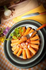 rigatoni with grappa pacetta pork