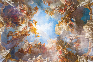 Fotobehang Artistiek mon. Ceiling painting of Palace Versailles near Paris, France