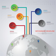Abstract 3D digital illustration Infographic with world map.Can