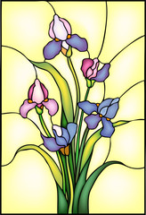 Iris flowers bouquet, vector illustration in stained glass window style