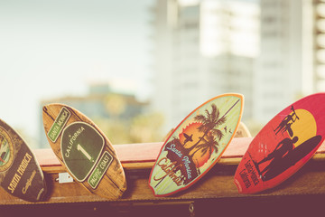 Surf boards as a souvenir in California.