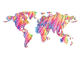 rainbow scribble drawing world map vector